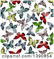 Seamless Background Pattern Of Colorful Butterflies
