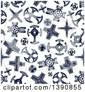 Clipart Of A Seamless Background Pattern Of Navy Blue Crosses Royalty Free Vector Illustration by Vector Tradition SM