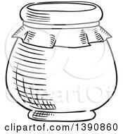 Clipart Of A Black And White Sketched Jar Royalty Free Vector Illustration by Vector Tradition SM