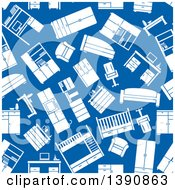 Clipart Of A Seamless Background Pattern Of White Furniture On Blue Royalty Free Vector Illustration