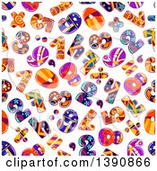 Clipart Of A Seamless Background Pattern Of Funky Numbers Royalty Free Vector Illustration