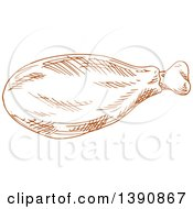 Clipart Of A Brown Sketched Chicken Drumstick Royalty Free Vector Illustration