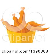 Clipart Of A Basket Of Chicken Royalty Free Vector Illustration