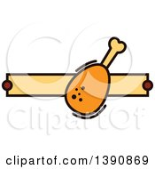 Clipart Of A Chicken Drumstick Design With Text Space Royalty Free Vector Illustration