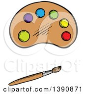 Clipart Of A Sketched Paintbrush And Palette Royalty Free Vector Illustration by Vector Tradition SM