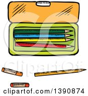 Clipart Of A Sketched Case And Pencils Royalty Free Vector Illustration by Vector Tradition SM