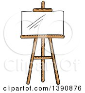 Clipart Of A Sketched Blank Canvas And Easel Royalty Free Vector Illustration by Vector Tradition SM