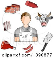Clipart Of A Sketched Butcher Cow And Meats Royalty Free Vector Illustration