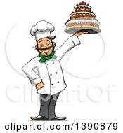 Clipart Of A Cartoon Happy Male Baker Holding Up A Cake Royalty Free Vector Illustration