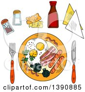 Clipart Of A Sketched Breakfast Of Fried Eggs Bacon Sausag And Broccoli Served With Cheese Seasonings Ketchup And Napkins With Knife And Fork Royalty Free Vector Illustration by Vector Tradition SM