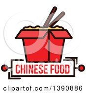 Clipart Of A Chinese Takeout Container With Chopsticks And Text Royalty Free Vector Illustration