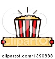 Clipart Of A Popcorn Bucket Over Text Space Royalty Free Vector Illustration by Vector Tradition SM
