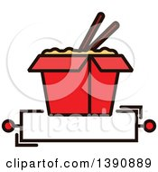 Clipart Of A Chinese Takeout Container With Chopsticks Over Text Space Royalty Free Vector Illustration