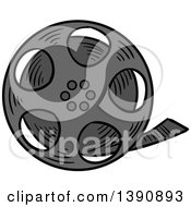 Clipart Of A Sketched Film Reel Royalty Free Vector Illustration