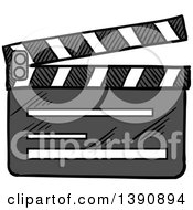 Clipart Of A Sketched Clapper Board Royalty Free Vector Illustration