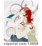 Gentle Redhead Woman Holding A Bird In Her Hand Clipart Illustration by AtStockIllustration