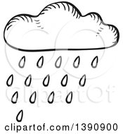 Clipart Of A Sketched Dark Gray Rain Cloud Royalty Free Vector Illustration by Vector Tradition SM