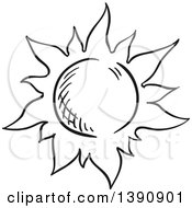 Clipart Of A Sketched Dark Gray Sun Royalty Free Vector Illustration by Vector Tradition SM