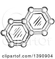 Clipart Of A Sketched Dark Gray Molecules Royalty Free Vector Illustration