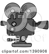 Clipart Of A Sketched Movie Camera Royalty Free Vector Illustration by Vector Tradition SM