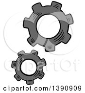 Clipart Of Gray Sketched Gears Royalty Free Vector Illustration by Vector Tradition SM