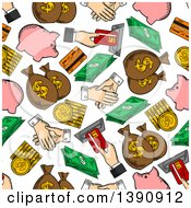 Clipart Of A Seamless Background Pattern Of Money Items Royalty Free Vector Illustration
