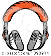 Clipart Of Sketched Headphones Royalty Free Vector Illustration