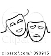 Clipart Of Sketched Black And White Theater Masks Royalty Free Vector Illustration