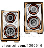 Clipart Of Sketched Music Speakers Royalty Free Vector Illustration