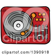 Clipart Of A Sketched Lp Vinyl Record Player Royalty Free Vector Illustration