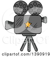 Clipart Of A Sketched Movie Camera Royalty Free Vector Illustration