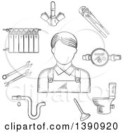 Poster, Art Print Of Sketched Gray Radiator Of Heating System Water Faucet And Water Meter Toilet Adjustable Wrench Pipes System With Leak Spanners Plunger And Plumber Man
