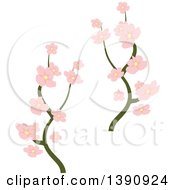 Clipart Of Branches With Pink Blossoms Royalty Free Vector Illustration
