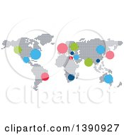 Clipart Of A World Atlas Map With Colorful Dots Royalty Free Vector Illustration by Seamartini Graphics