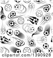 Seamless Background Pattern Of Black And White Flying Soccer Balls