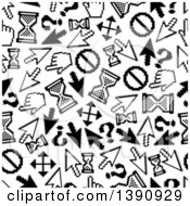 Seamless Background Pattern Of Black And White Pixelated Cursors