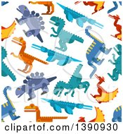 Clipart Of A Seamless Background Pattern Of Dinosaurs Royalty Free Vector Illustration by Vector Tradition SM