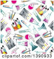 Clipart Of A Seamless Background Pattern Of Science Beakers Flasks And Test Tubes Royalty Free Vector Illustration