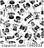 Seamless Background Pattern Of Black And White Antique Telephones