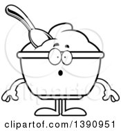 Clipart Of A Cartoon Black And White Lineart Surprised Yogurt Mascot Character Royalty Free Vector Illustration by Cory Thoman
