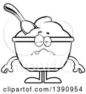 Clipart Of A Cartoon Black And White Lineart Sick Yogurt Mascot Character Royalty Free Vector Illustration by Cory Thoman