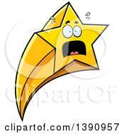 Clipart Of A Cartoon Scared Shooting Star Mascot Character Royalty Free Vector Illustration by Cory Thoman