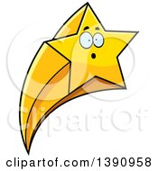 Clipart Of A Cartoon Surprised Shooting Star Mascot Character Royalty Free Vector Illustration by Cory Thoman