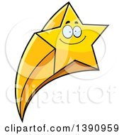 Clipart Of A Cartoon Happy Smiling Shooting Star Mascot Character Royalty Free Vector Illustration by Cory Thoman