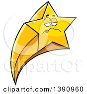 Clipart Of A Cartoon Sick Shooting Star Mascot Character Royalty Free Vector Illustration by Cory Thoman