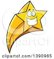 Cartoon Grinning Happy Shooting Star Mascot Character