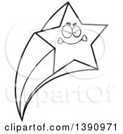 Clipart Of A Cartoon Black And White Lineart Mad Shooting Star Mascot Character Royalty Free Vector Illustration by Cory Thoman