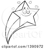 Clipart Of A Cartoon Black And White Lineart Loving Shooting Star Mascot Character Royalty Free Vector Illustration by Cory Thoman
