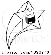 Clipart Of A Cartoon Black And White Lineart Happy Shooting Star Mascot Character Royalty Free Vector Illustration by Cory Thoman