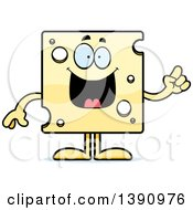 Clipart Of A Cartoon Smart Swiss Cheese Mascot Character With An Idea Royalty Free Vector Illustration